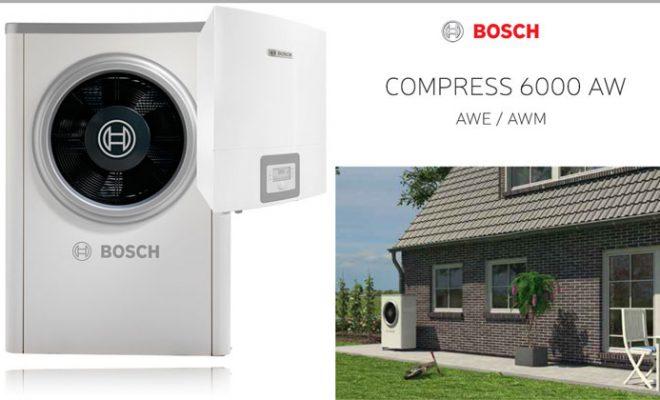 Топлинска пумпа Bosch COMPRESS 6000 AW – погодна за греење во комбинација со радијатори, подно греење и фенкојлери
